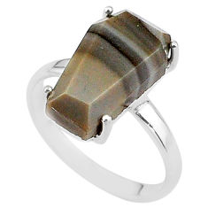925 silver 8.07cts coffin solitaire natural imperial jasper ring size 9 t17408