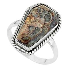 925 silver 7.99cts coffin solitaire natural mushroom rhyolite ring size 8 t17495