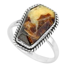 925 silver 8.09cts coffin solitaire natural septarian gonads ring size 9 t17430