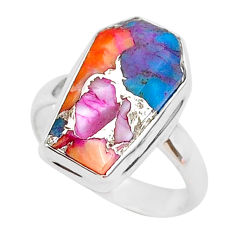 925 silver 7.33cts coffin spiny oyster arizona turquoise ring size 7 r93571