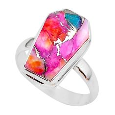 925 silver 7.04cts coffin spiny oyster arizona turquoise ring size 9 r93566