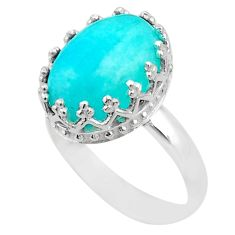 925 silver 6.27cts crown natural green peruvian amazonite ring size 8 t43408