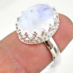 925 silver 5.40cts crown natural rainbow moonstone oval ring size 7 t43417
