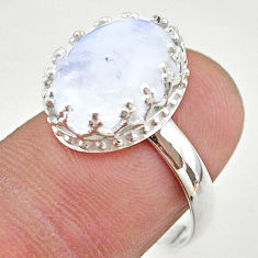 925 silver 5.99cts crown natural rainbow moonstone oval ring size 8 t43418