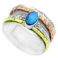925 silver doublet opal australian two tone spinner band ring size 7 t51700