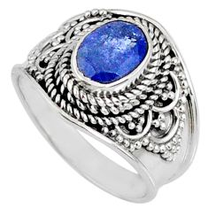 925 silver 2.11cts faceted blue tanzanite oval solitaire ring size 6.5 r60837