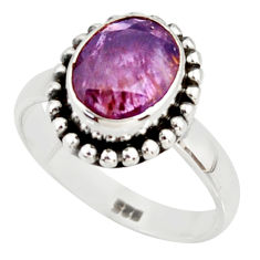 925 silver 4.46cts faceted cacoxenite super seven solitaire ring size 8.5 r37898