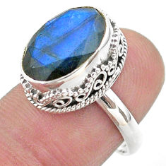 925 silver 6.62cts faceted natural blue labradorite oval ring size 7 t44827