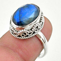 925 silver 6.46cts faceted natural blue labradorite oval ring size 7 t44851