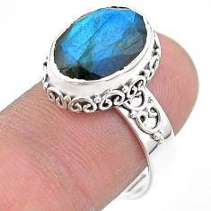 925 silver 6.58cts faceted natural blue labradorite oval ring size 8 t44836