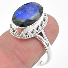 925 silver 6.80cts faceted natural blue labradorite oval ring size 8.5 t44824