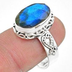 925 silver 6.83cts faceted natural blue labradorite oval ring size 8.5 t44838