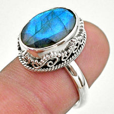 925 silver 6.46cts faceted natural blue labradorite oval ring size 6.5 t44845