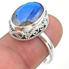 925 silver 6.83cts faceted natural blue labradorite oval ring size 7.5 t44856