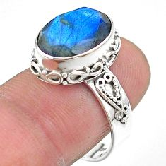 925 silver 6.41cts faceted natural blue labradorite oval ring size 8.5 t44860