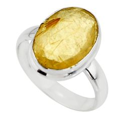 925 silver 6.39cts faceted natural golden rutile oval ring size 7.5 r51315