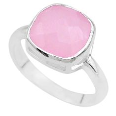 925 silver 5.22cts faceted natural pink rose quartz cushion ring size 7 t12150