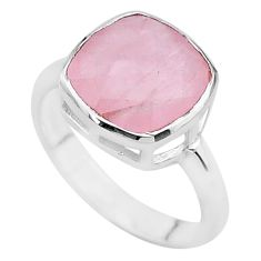 925 silver 5.43cts faceted natural pink rose quartz cushion ring size 7 t12158