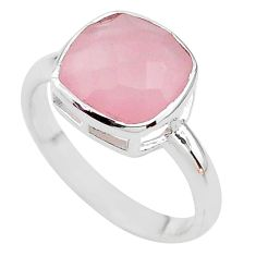 925 silver 6.09cts faceted natural pink rose quartz cushion ring size 8 t12137
