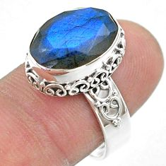 925 silver 6.74cts faceted vnatural blue labradorite oval ring size 8.5 t44832