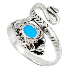 925 silver fine blue turquoise anaconda snake ring size 7.5 a41803 c13255