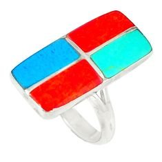 925 silver fine blue turquoise coral enamel ring jewelry size 5.5 a46434 c13596