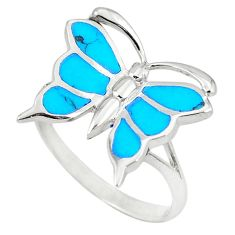 925 silver fine blue turquoise enamel butterfly ring size 6.5 a49720 c13232