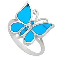 925 silver fine blue turquoise enamel butterfly ring size 9 a55158 c13424