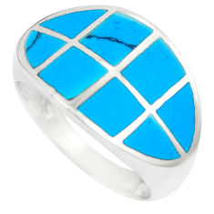 925 silver 4.89gms fine blue turquoise enamel ring size 6.5 a88504 c13164