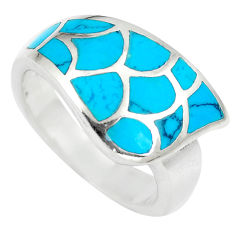 925 silver 7.02gms fine blue turquoise enamel ring size 7.5 a88511 c13525