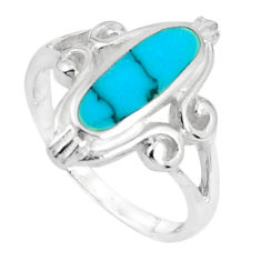 925 silver 3.69gms fine blue turquoise enamel ring size 6.5 a95637 c13153