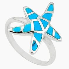 925 silver fine blue turquoise enamel star fish ring size 6 a54974 c13391
