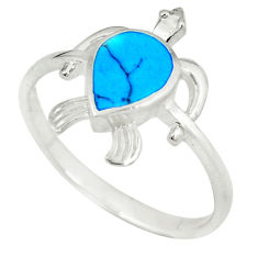 925 silver fine blue turquoise enamel tortoise ring jewelry size 9 a49519 c13366