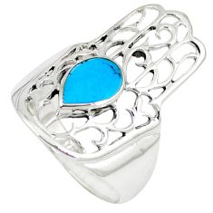 925 silver fine blue turquoise hand of god hamsa ring jewelry size 7.5 c12726