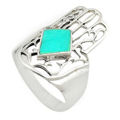 925 silver fine blue turquoise hand of god hamsa ring jewelry size 8.5 c21649