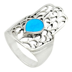 925 silver fine blue turquoise hand of god hamsa ring jewelry size 5.5 c21660