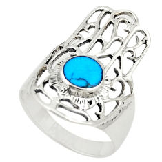 925 silver fine blue turquoise hand of god hamsa ring jewelry size 5.5 c26158