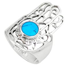925 silver fine blue turquoise hand of god hamsa ring jewelry size 6 c12098