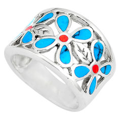 925 silver 7.47gms fine green turquoise coral enamel flower ring size 6.5 c12701