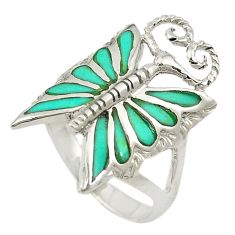 925 silver fine green turquoise enamel butterfly ring jewelry size 7.5 c12183