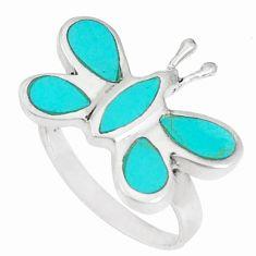 925 silver 4.69gms fine green turquoise enamel butterfly ring size 7 c21951