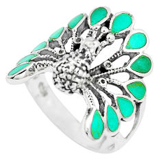 925 silver 7.26gms fine green turquoise enamel peacock ring size 9.5 c12415