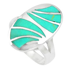 925 silver 6.26gms fine green turquoise enamel ring size 7.5 a88505 c13107