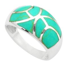 925 silver 5.69gms fine green turquoise enamel ring size 9 a91945 c13354