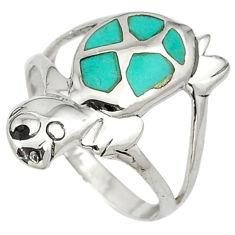 925 silver fine green turquoise enamel tortoise ring jewelry size 7.5 c11931