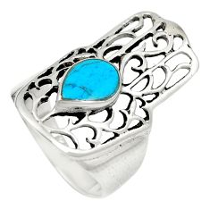 925 silver fine green turquoise hand of god hamsa ring size 5.5 c12087