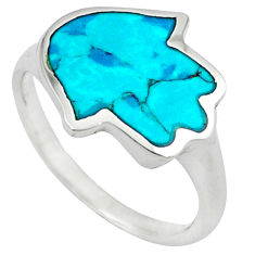 925 silver fine green turquoise hand of god hamsa ring jewelry size 6.5 c10733