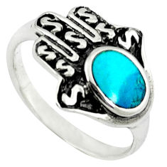 925 silver fine green turquoise hand of god hamsa ring jewelry size 6 c10716