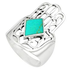 925 silver fine green turquoise hand of god hamsa ring jewelry size 8 c11962