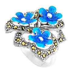 925 sterling silver 10.25gms fine marcasite enamel flower ring size 7 c16138